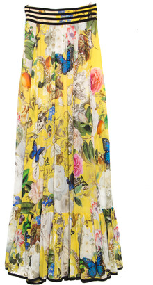 Roberto Cavalli Yellow Wonderland Printed Silk Flounce Bottom Maxi Skirt S