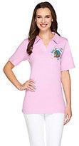 Quacker Factory Petite Fleur Short Sleeve Polo Shirt