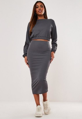 Missguided Blue Rib Crop Top And Midaxi Skirt Co Ord Set