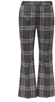 Marni Cropped Checked Wool Flared Trousers - Womens - Grey Multi