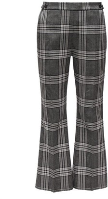 Marni Cropped Checked Wool Flared Trousers - Grey Multi
