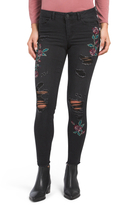 Juniors Destructed Embroidered Jeans