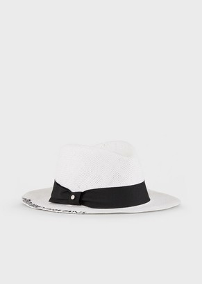 Emporio Armani Embroidered Fedora Hat In Woven Paper Yarn