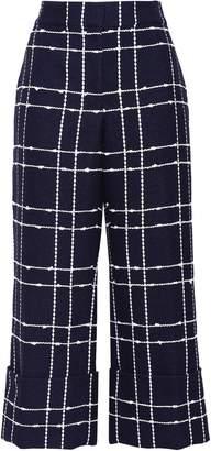 Oscar de la Renta Cropped Cotton-blend Jacquard Wide-leg Pants