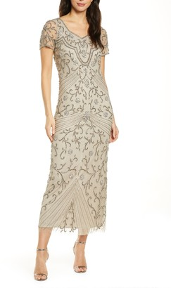 Pisarro Nights Beaded Illusion Mesh Gown