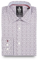 Jeff Banks Big And Tall Dark Purple Floral Print Slim Fit Shirt