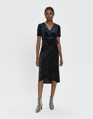 Farrow Women's Bethany Velvet Wrap Dress in Black, Size Extra Small | Spandex