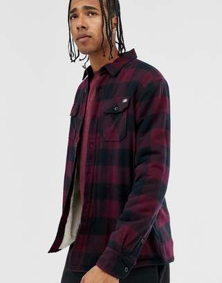 Dickies Lansdale long sleeve check shirt with sherpa lining in maroon-Red