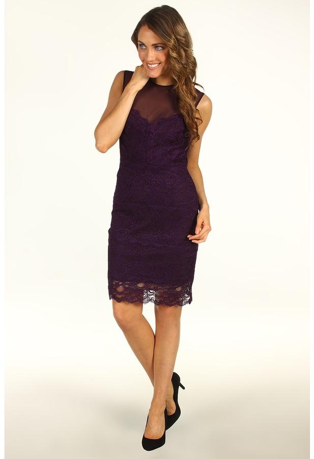 Nicole Miller Sleeveless Stretch Lace Dress (Majestic Purple) - Apparel