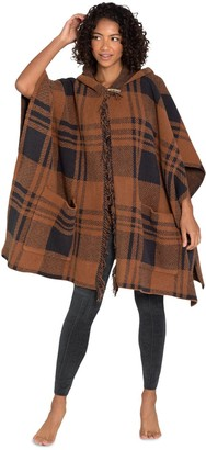 Barefoot Dreams CozyChic Hooded Plaid Poncho with Fringe