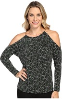 MICHAEL Michael Kors Braided Leather Cold Shoulder Top