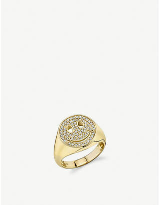 Sydney Evan The Alkemistry Smiley Face 18ct yellow-gold and diamond ring
