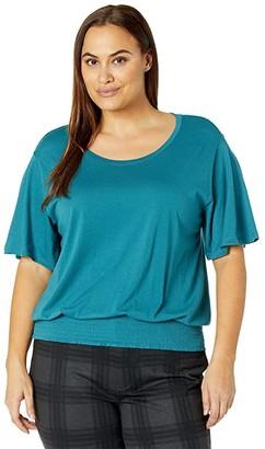 MICHAEL Michael Kors Size Smock Waist Flutter Sleeve Top (Dark Cyan) Women's Clothing