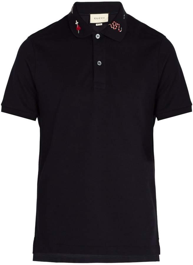 Gucci Embroidered cotton-piqué polo shirt