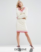 Asos WAH LONDON x Cable Knit Cricket Skirt