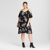 Xhilaration Women's Plus Size Cold Shoulder Dress Black Print