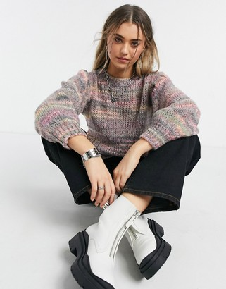 Topshop space dye cropped jumper in pink