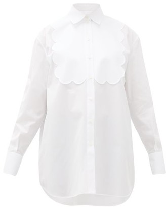 Valentino Scalloped-panel Cotton-poplin Tuxedo Shirt - Womens - White