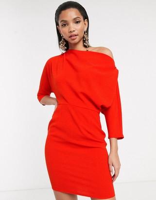 ASOS DESIGN fallen shoulder mini pencil dress