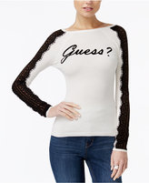 GUESS Holly Lace-Trim Graphic Sweater