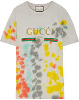Gucci Printed Tie-dyed Cotton-jersey T-shirt - Light gray