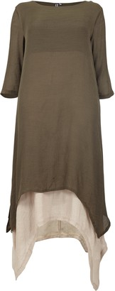 Evans **Izabel Curve Khaki 3/4 Sleeve Midi Swing Dress