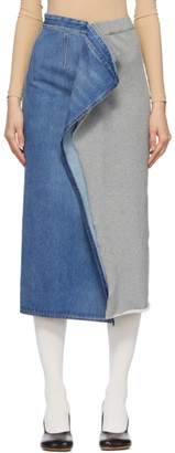 MM6 MAISON MARGIELA Blue and Grey Denim Sweat Split Skirt