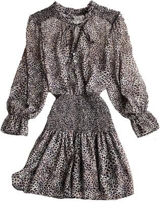 Goodnight Macaroon 'Monica' Chiffon Leopard Print Ruched Waist Mini Dress (4 Colors)