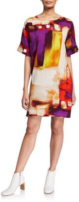 Natori Brushstroke Short-Sleeve Crepe T-Shirt Dress