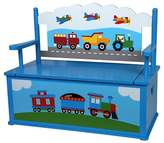 Levels of Discovery Olive Kids Trains Planes Trucks Bench Seat With Storage - Blue