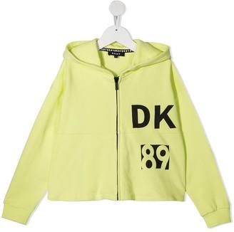 DKNY Logo Print Zipped Hoodie