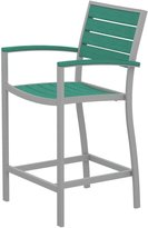 Poly Wood Inc Poly Wood A201FASAR Euro Counter Height Arm Chair - Silver Aluminum Frame - Aruba