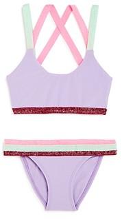 PQ Swim Girls' Sport Color-Blocked Two-Piece Swimsuit - Little Kid, Big Kid
