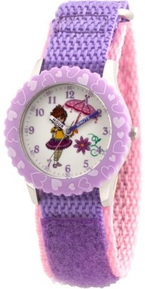 Disney Fancy Nancy Girls' Stainless Steel Time Teacher Watch, Purple Bezel, Purple Hook and Loop Nylon Strap with Pink Backing