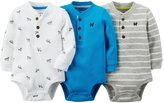 Carter's 3 Pack Print Bodysuits (Baby) - Blue/White/Gray-24 Months