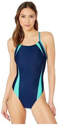 Speedo Solid Splice Flipback One-Piece (Navy) Women's Swimsuits One Piece
