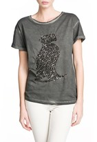 MANGO Outlet Sequin Animal T-Shirt