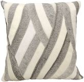 Mina Victory Natural Leather Hide Wavy Stripes Square Throw Pillow in White