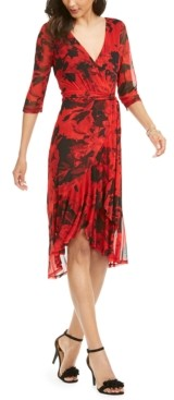 Connected Flowing Overlay Faux Wrap Dress
