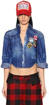 DSQUARED2 Cropped Stretch Denim Shirt W/ Patches
