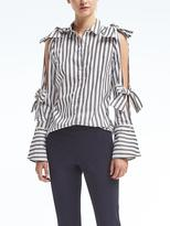Banana Republic Riley-Fit Stripe Cold-Shoulder Bow Top