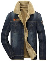 Jinmen Men's Thickened Denim Jackets With Fur Collar