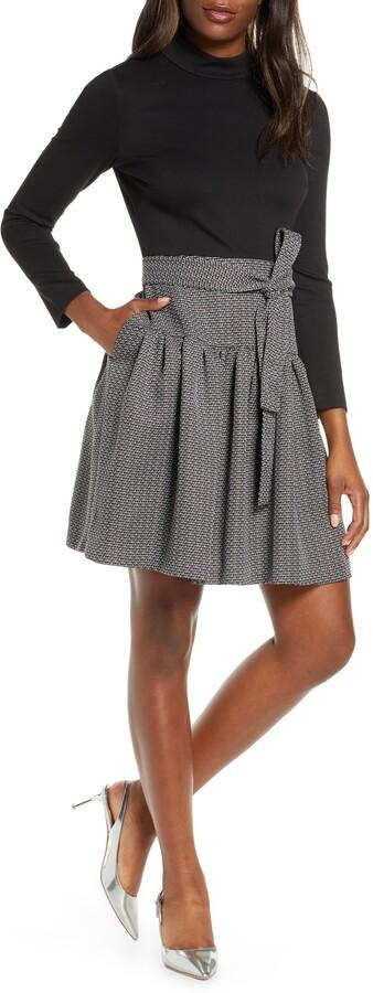 Eliza J Long Sleeve Fit & Flare Dress