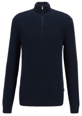 HUGO BOSS Knitted Sweater In Structured Cotton With Quarter Zip - Dark Blue