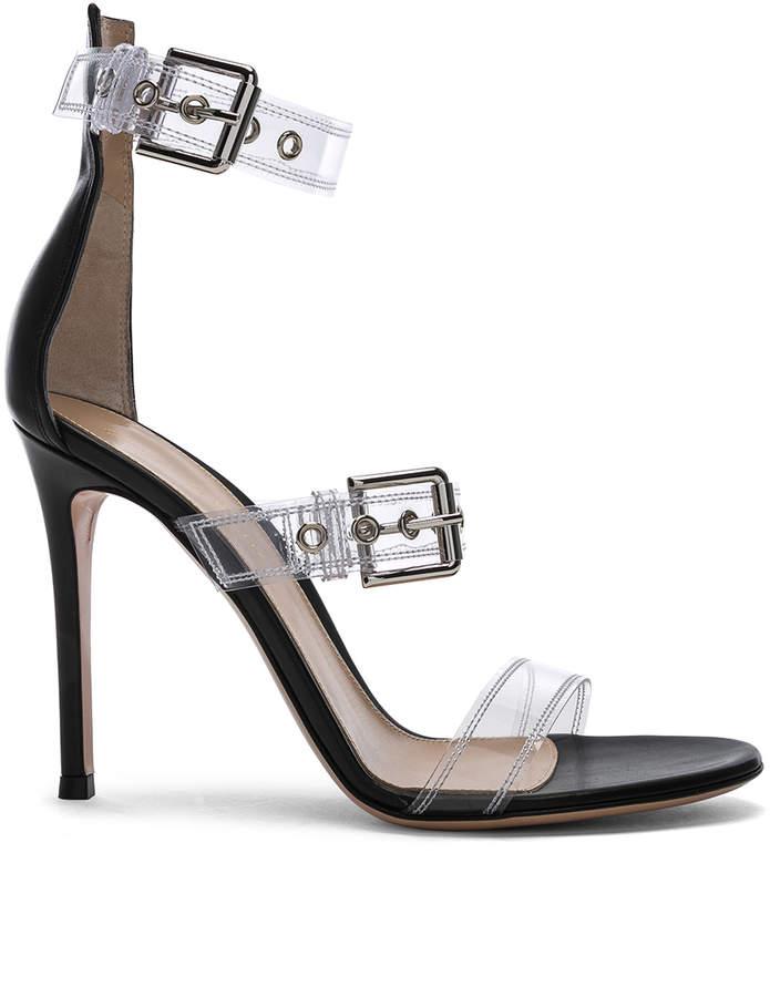 Gianvito Rossi Plexi Gabby Strap Heels in Trasp & Black | FWRD