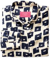 Charles Tyrwhitt Women's Semi-Fitted Navy and Cream Abstract Block Print Silk Blouse Size 8