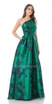 Carmen Marc Valvo Floral One Shoulder Jacquard Evening Dress