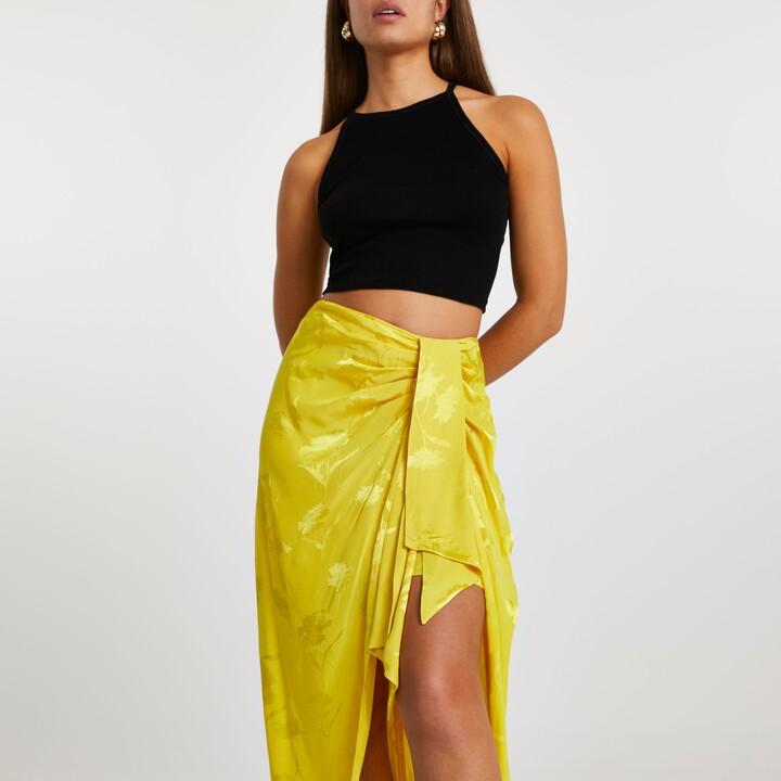 River Island Womens Yellow side knot tie midi skirt