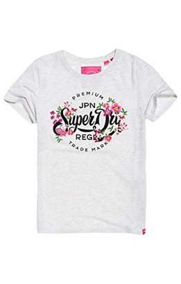 Superdry Women's Premium Script Floral Entry Tee T-Shirt,(Size: 10)
