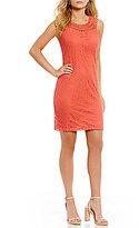 Jessica Howard Petite Crochet-Neck Lace Shift Dress